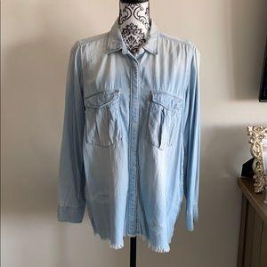 H&M Distressed Denim Shirt Size 12